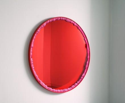 :mentalKLINIK</br> LOVER_RP1301, 2013</br> Tempered glass, micro-layered polyester films, coated stainless steel, liquid polymer resin</br> 48 2/5 in diameter // 123 cm diameter